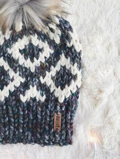 Knit Adult Hat Fair Isle Beanie Faux Fur Pom Pom // Fair Isle Diamonds
