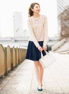 【着まわしday6】レースばりニット×スカートセットアップ (スカート) | ファッション コーディネート | with online on ウーマンエキサイト