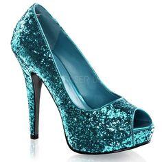 PLEASER Turquoise Blue Glitter Peep Toe Mini Platform High Heels Party Club Shoe #Pleaser #PumpsClassics