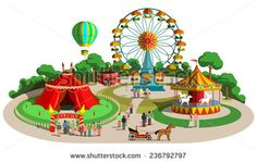 Set of vector design composition with amusement park elements