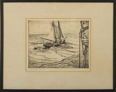 """Pilot Schooner off a Larger Vessel,"" Charles H. Woodbury, etching on paper, 9 1/2 x 11 1/2"", private collection."