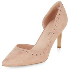 Wide Fit Nude Eyelet Trim Pointed Court Shoes ($36) ❤ liked on Polyvore featuring shoes, pumps, oatmeal, high heel shoes, high heel pointed heel shoes, wide shoes, pointed toe shoes and pointed-toe pumps