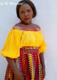 Chimsy pleated and embellished chiffon and ankara dress-HOT!