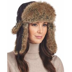 FRR Womens Black Taslon Faux Fur Trapper Hat ($20) ❤ liked on Polyvore featuring accessories, hats, velcro hat, trapper hats, ear flap hats, earflap hats and frr