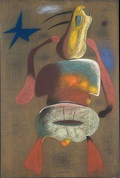 """Woman"" Joan Miró (Spanish, Barcelona 1893–1983 Palma de Mallorca) Date: 1934 Medium: Pastel on flocked paper"