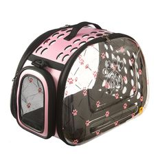 PINMEI catS Fashion Design Dog and Cat Carrier Travel Bag Airline Approved, Foldable Breathable Visible -- Startling review available here