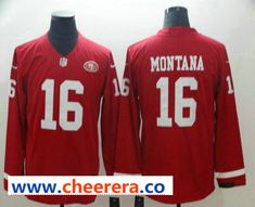 1cd3b5c8c Men s San Francisco 49ers  16 Joe Montana Nike Red Therma Long Sleeve  Limited Jersey