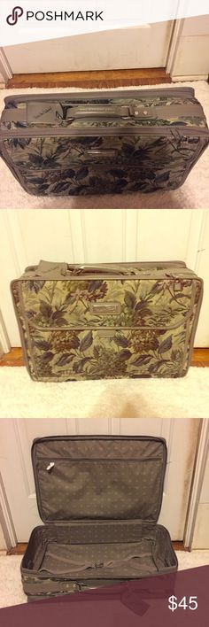 VTG Diane von Furstenberg Tapestry Floral Suitcase Vintage Diane von Furstenberg Charming Gray Tapestry Floral Suitcase.Gray Leather on top/bottom. Vinyl on interior of main compartment. The main compartment has an additional zippered pocket. There are several exterior pockets. Lots of room. 4 feet so it stands upright. Has handles for a strap if you can find one to fit it. No stains, tears, rips on fabric. Very minimal flaws, one black stain on the inside compartment. 2 zippered…