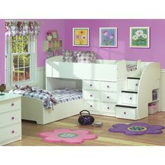 Love this... my girls might be sharing a room soon and this is just wonderful for space and extra storage!