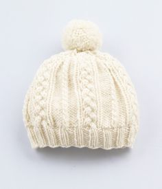 Cable Pattern Hat--Winter White--FREE pattern