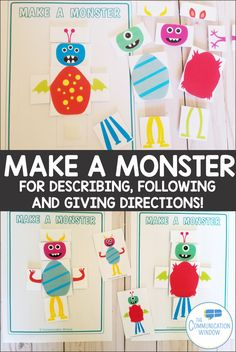 Make a Monster Preschool Speech Therapy, Speech Therapy Games, Speech Language Therapy, Speech Pathology, Speech And Language, Monster Activities, Fall Preschool Activities, Speech Therapy Activities, Monster Crafts
