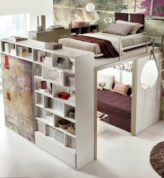Small space loft bedroom. Smartly arranged. (I thought this was a doll house or something at first)
