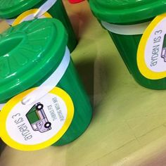 Garbage truck birthday party favors