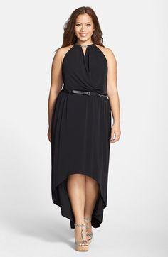 Plus Size Belted Elliptical Hem Halter Maxi Dress