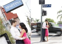 Spartina Italian Restaurant, engaged, melrose ave, kissing, hot pink dress, pose, couple, LA, engagement in West Hollywood, Los Angeles Photographer, GilmoreStudios.com