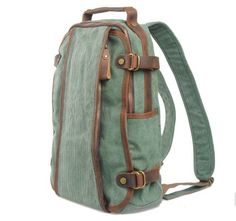Whatland Leisure Canvas Genuine Leather Backpack (Green) - Click image twice for more info - See a larger selection of Girls teen backpacks at http://kidsbackpackstore.com/product-category/girls-teen-backpacks/- kids, juniors, back to school, kids fashion ideas, teens fashion ideas, school supplies, backpack, bag , teenagers, boys, gift ideas