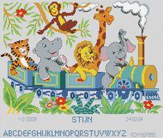 Baby Cross Stitch Patterns, Cross Stitch Love, Cross Stitch Alphabet, Cross Stitch Animals, Brother Innovis, First Birthday Party Themes, Jungle Theme, Baby Kind, C2c
