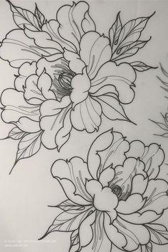 Flower Tattoo Drawings, Flower Tattoo Designs, Tattoo Sketches, Skull Drawings, Japanese Tattoo Designs, Japanese Tattoo Art, Japanese Flower Tattoos, Flor Oriental Tattoo, Body Art Tattoos