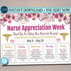 Nurses Appreciation Week Itinerary Printable Schedule Of Events EDITABLE Nurses Appreciation Week It Nurses Week Quotes, Nurses Week Gifts, Happy Nurses Week, Nurses Day, Nurse Gifts, Nurses Week Ideas, Nursing Quotes, Funny Nursing, Nursing Memes