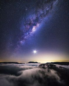 """I'm counting down my Top 10 favourite images posted in the last two years on Instagram, celebrating 2 years on the platform. Coming in at number 8 is my shot called """"Crescent Moon over Mount Banks"""". This shot was taken over the Grose Valley in the Blue Mountains at about 4am. It always pays to get up early when you're camping and see what is happening.  I never expected to be greeted this scene and it's turned into one of my favourite memories. Sitting here alone watching the clouds dance in…"""