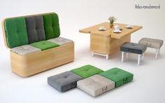 Многофункциональный диван с пуфиками - стол 3 в 1 для гостиной