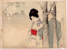 Lotto 00157 N.1 xilografia ukiyo-e  Mizuno Toshikata  BOUQUET D'AMORE  Anno: 1900 Condizioni: buone Dimensioni: 30,5 x 22 cm