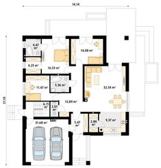 Projekt domu MT Ariel 3 paliwo stałe CE - DOM - gotowy koszt budowy House Layout Plans, Small House Plans, House Layouts, Cute Small Houses, Modern Bungalow House, Plans Architecture, Architect House, House Front, Home Projects