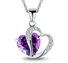 925 Sterling Silver Necklace Chain Amethyst Crystal Heart Purple