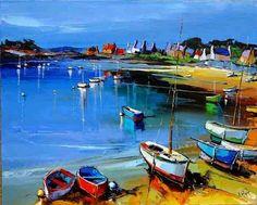 Eric Le Pape, Venice Canals, Seascape Art, Boat Painting, Sea Art, Big Canvas, Abstract Landscape, Amazing Art, Scenery