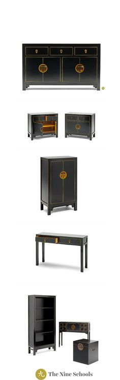 Qing black and gilt sideboard, large Beautiful hand crafted oriental inspired black furniture range Asian Furniture, Chinese Furniture, Oriental Furniture, Black Furniture, Cabinet Furniture, Bedroom Furniture, Painted Furniture, Home Furniture, Furniture Design