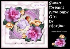 Very cute, beautiful card kit for a new baby girl.  2 sheets to print.  sheet 1 Topper and gifttags  sheet 2 decoupage & sentiments