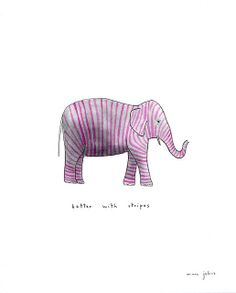 elephant - better with stripes (Marc Johns) Elephant Love, Elephant Art, Purple Elephant, Elephant Illustration, Illustration Art, Marc Johns, Drawing S, Art Drawings, Pink Drawing