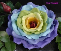 Glitzy Rainbow Rose Tutorial Using Circle cutters By SSN_sweets on CakeCentral.com
