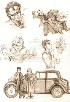 Aziraphale and Crowley sketches by AurelGweillys on DeviantArt