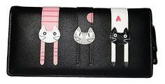 Nawoshow Women Wallet Cute Cat Wallet Bifold Long Purse with Zipper - Pair Pink Cat Wallet, Slim Wallet, Clutch Wallet, Leather Wallet, Long Wallet, Front Pocket Wallet, Branded Wallets, Coin Bag, Minimalist Wallet