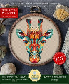 This is modern cross-stitch pattern of Mandala Giraffe for instant download. You will get 7-pages PDF file, which includes: - main picture for your reference; - colorful scheme for cross-stitch; - list of DMC thread colors (instruction and key section); - list of calculated