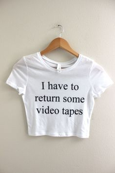 7e223aa71e American Psycho Video Tapes White Graphic Crop Top