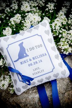 Custom Ring Pillow for Your Dog to Wear - Your Dog - Dog Ring Bearer - I Do Too - Hearts