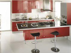 déco cuisine rouge et gris | Pinterest | Smart kitchen, Red kitchen ...