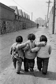 Three friends, Beijing, 1957