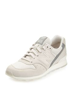 696 Leather Trainer, Ivory by New Balance at Bergdorf Goodman.