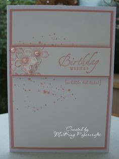 A very simple card using Blushing Bride cardstock and ink along with Gorgeous Grunge, Petite Petals & co-ordinating punch, a couple of sentiments and a few pearls