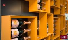 Gallery: Esigo 5 wine rack is a wall-mounted wine rack, the wine bookcase, used for bottles but also for other wine accessories like special glasses, decanters and books. Wine Shelves, Shelf Design, Cafe Bar, Solid Oak, Bottle, Storage, Gallery, Wine Racks, Home Decor