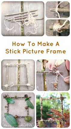 nature art Forest Craft: How To Make A Picture Frame With Sticks MaryAnn Nesbit I feel like we did this for craft day. And then hung them in the apartment. Forest School Activities, Nature Activities, Outdoor Activities, Activities For Kids, Crafts For Kids, Land Art, Forest Crafts, Nature Crafts, Art Nature