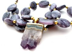 Charoite Amethyst Geode Gemstone Necklace by TheJewelryLadysStore, $54.00