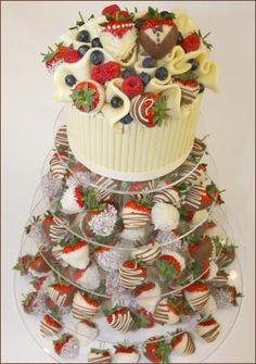 Dipped Strawberry Wedding Tower - alternative to a wedding cake
