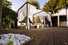 Outdoor seating with curtains