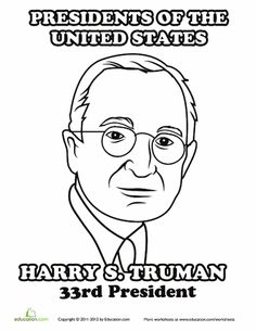 harry truman coloring page