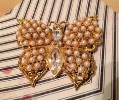 Pearly Butterfly Broach