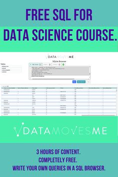 More than of data scientists job descriptions require SQL as a skill learn it here for free, hands on. 3 hours of SQL for data science content that brings you through data cleaning and feature engineering for data science in SQL. Learn Sql, Business Intelligence, Programming Languages, Data Analytics, Job Description, Data Science, Big Data, Scientists, Assessment